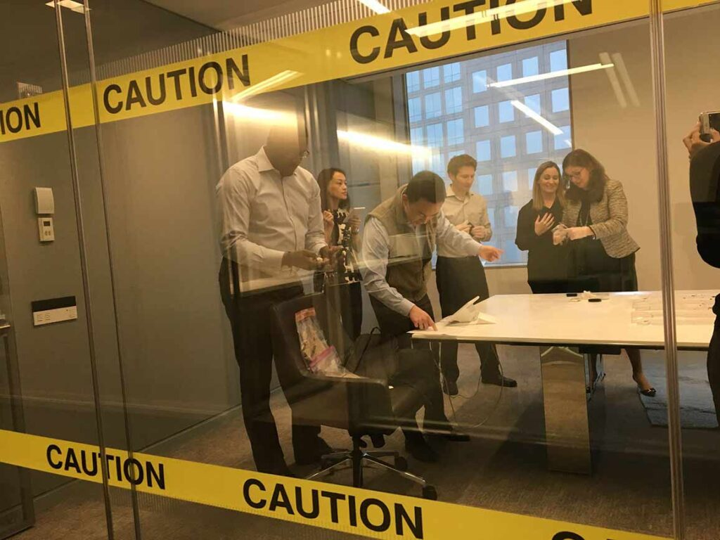 crime scene investigation team building halloween activity