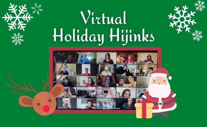 a group of colleagues on their computers playing a festive holiday hijinks team building activity