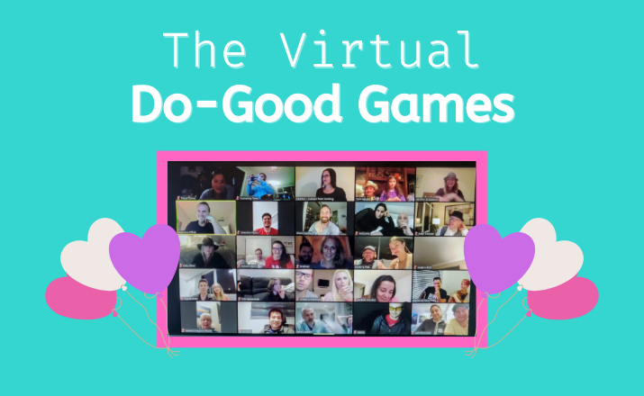 employees doing some good and giving back with a virtual do good games team building activity for the holidays