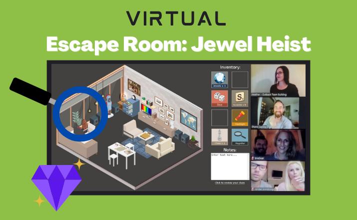 virtual escape room jewel heist is a unique team building activity idea for the holidays