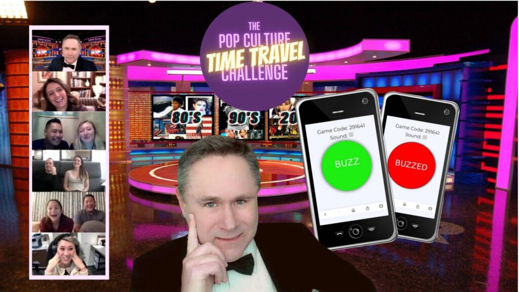 colleagues can take a trip down memory lane with a virtual time machine trivia winter team building activity
