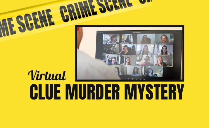 colleagues doing a holiday virtual clue murder mystery team building activity