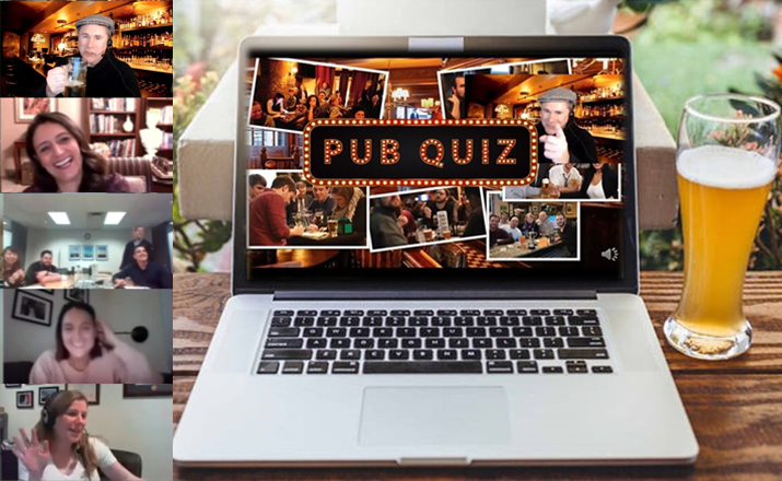 teammates can have fun and be social with a virtual happy hour trivia winter team building activity