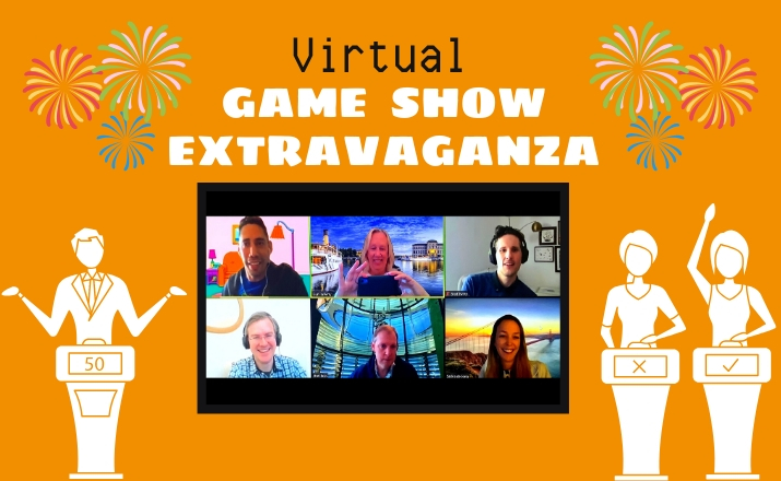 teammates will love playing a virtual game show extravaganza indoor team building activity